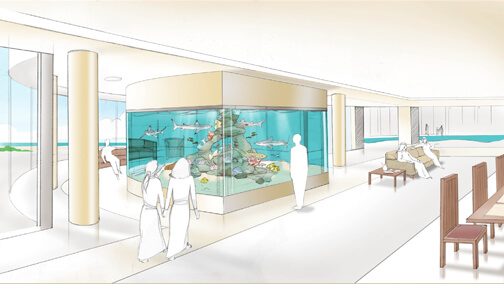 Concept drawing for residential shark aquarium
