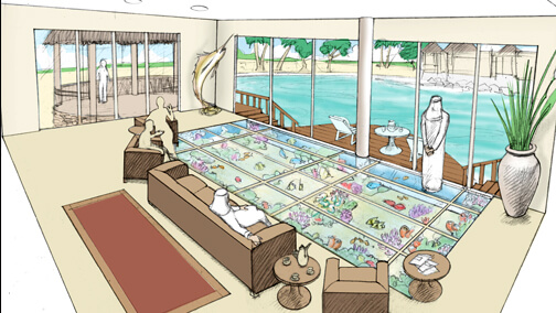 Conceptual drawing for coral reef floor aquarium