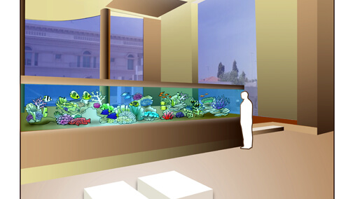 Conceptual drawing for residential aquarium