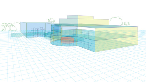 Conceptual perspective showing location of shark aquarium