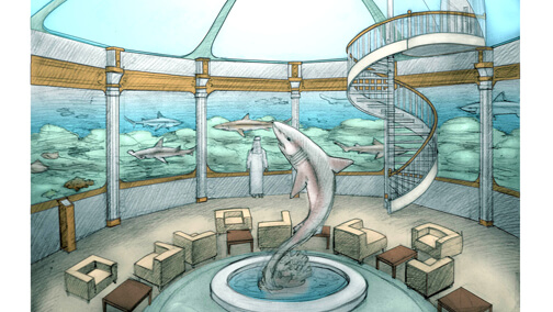 Conceptual drawing for large shark research aquarium