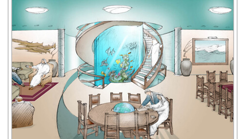 Conceptual drawing for yacht cylinder aquarium